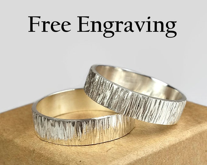 6mm Tree Bark Silver Wedding Band Set His and Hers Rustic Woodgrain Wedding Bands Hammered Textured Wood Grain Silver Wedding Band Couples