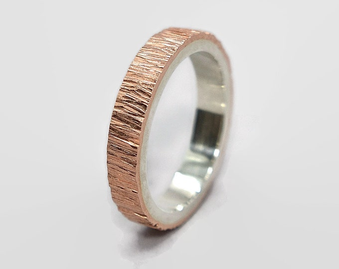 Mens Tree Bark Copper and Sterling Silver Wedding Band Ring Copper Wedding Ring Wood Grain Textured Flat Shape 4mm