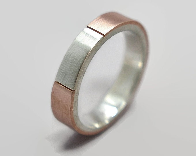 Mens Wedding Band Ring Matte Copper and Silver. Signet Mens Ring Copper and Silver. Modern Copper Wedding Band Ring Gift for Him 4mm