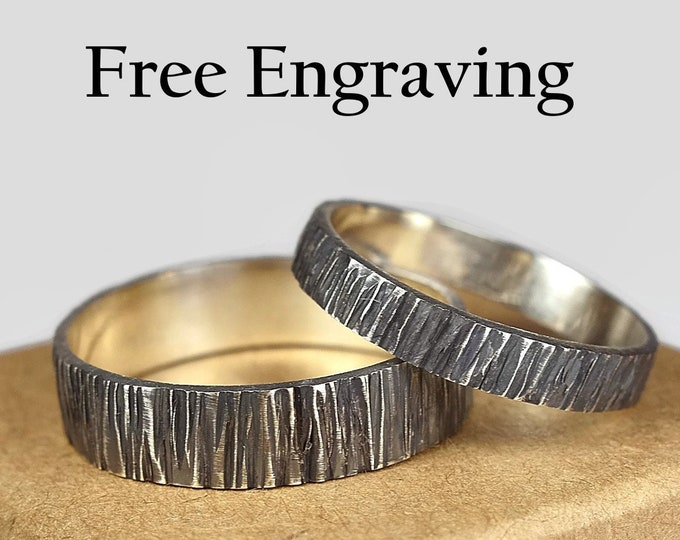 Tree Bark Wedding Band Ring Set for Couples. Rustic Antique Style Oxidized finished Wood Grain Texture Flat Shape 4mm & 6mm Custom Engraving
