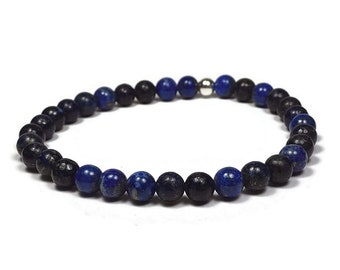Lapis Lazuli and Sterling Silver 6mm Beaded Bracelet, Blue Lapis Lazuli Beaded Bracelet