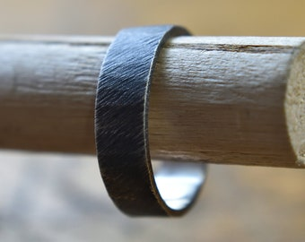 Mens Raw Brushed Silver Wedding Band Ring. Organic Oxidized Silver Wedding Band Ring for Men. Satin Wedding Band. Wedding Band Ring