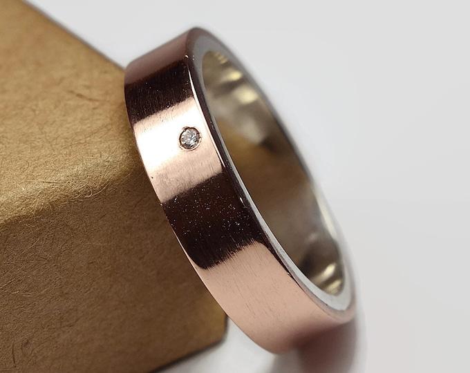 Mens Copper Wedding Band Ring Cubic Zirconia CZ. Unisex Copper Wedding Band. Modern Style. Flat Shape 6mm