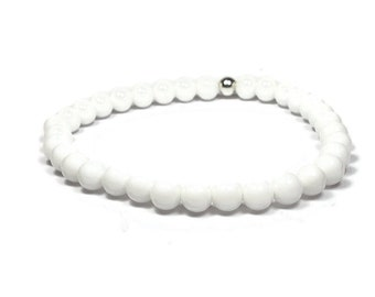 White Onyx and Sterling Silver 6mm Beaded Bracelet, White Onyx Beaded Bracelet