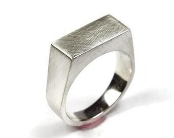 Mens Custom Matte Sterling Silver Signet Ring. Mens Signet Ring Men Matte Silver. Signet Ring for Men Matte Sterling Silver. Signet Rings