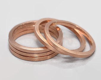 Mens Stacking Rings Stacking Copper Ring Set Copper Modern Stacking Rings Copper Mens Polished Matte Copper Ring 2mm