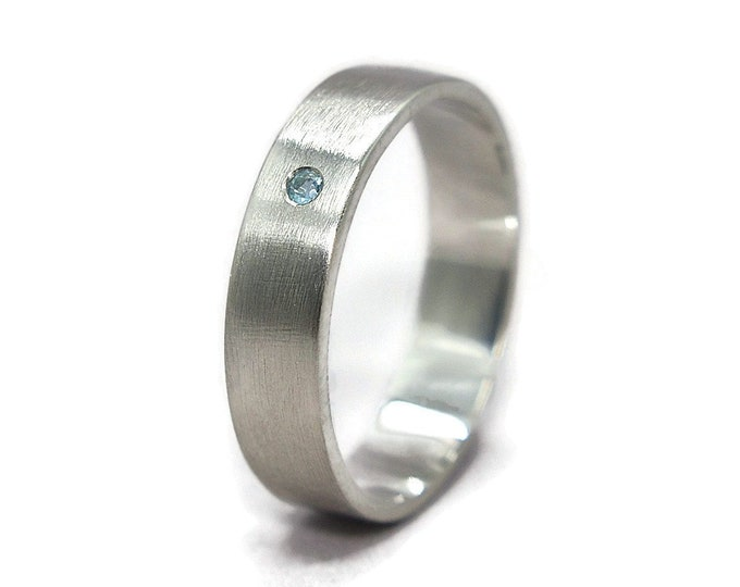 Mens Blue Topaz Wedding Band Ring Blue Topaz Matte Wedding Band Ring Sterling Silver Matte Wedding Band Ring with Blue Topaz Promise Rings