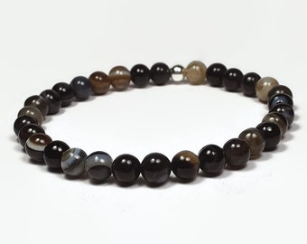 Black Line Agate and Sterling Silver 6mm Beaded Bracelet, Black Line Agate Beaded Bracelet