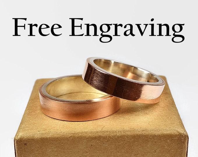 Couple Wedding Bands. Copper Wedding Band Ring Set. Free Inside Ring Engraving Minimalist Copper Wedding Band, Modern Style. Flat Shape 6mm