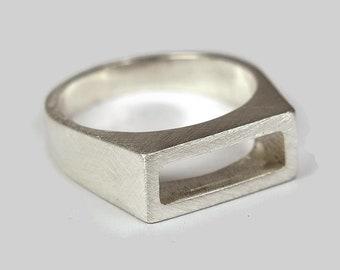 Modern Mens Sterling Silver Ring. Elegant Sterling Silver Ring for men. Geometric Mens Silver Ring. Mens Matte Silver Ring. Gift For Him