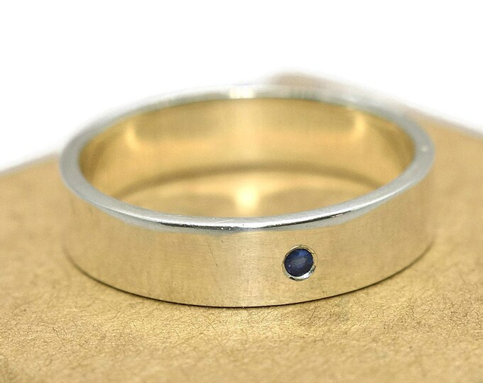 Mens Blue Sapphire Wedding Band Ring in Sterling Silver. Promise Rings