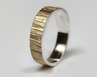 Mens Rustic Matte 9k Gold and Sterling Silver Tree Bark Wedding Ring, Wood Grain Textured, Flat Shape 6mm, Matte Hammered Ring