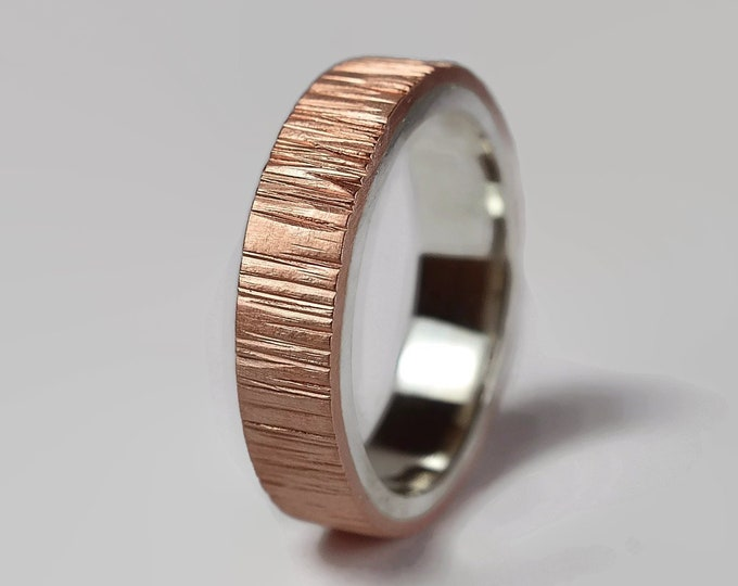 Rustic Copper and Sterling Silver Wedding Band For Men, Flat Shape 6mm Wide Hammered Bark Texture, Matte Finish