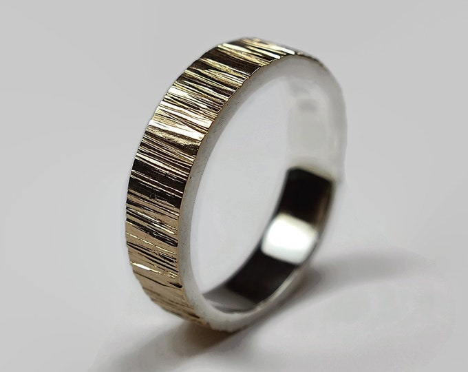 Rustic 9k Gold and Silver Tree Bark Wedding Band Ring.
