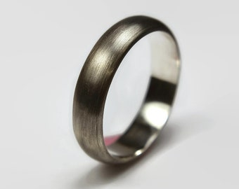 Mens Antique Dark Oxidized Silver Wedding Band Ring. Traditional Dark Style. Half Round Shape 6mm