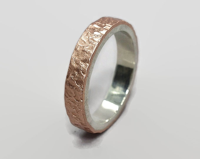 Meteorite Matte Copper and Silver Wedding Band Ring Moon Rustic Copper Wedding Band Ring Meteorite Rustic Copper Wedding Band Ring