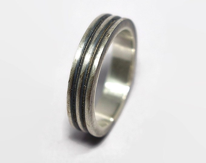 Mens Antique Industrial Sterling Silver Wedding Band Ring Antique Industrial Modern Matte Silver Wedding Band Ring Anniversary Silver Ring