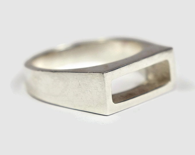 Mens Sterling Silver Stirrup Ring. Mens Rectangle Sterling Silver Stirrup Ring Geometric Polished Silver Stirrup Ring for Men Geometric Ring
