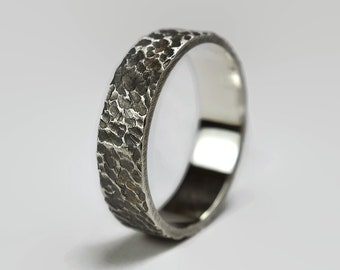 Mens Rustic Antique Sterling Silver Wedding Band Ring. Textured Meteorite Style. Flat Shape 6mm
