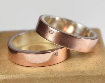 Copper Cubic Zirconia CZ Wedding Band Set. Couples Ring Set, Modern Wedding Band Set, Flat Shape 6mm