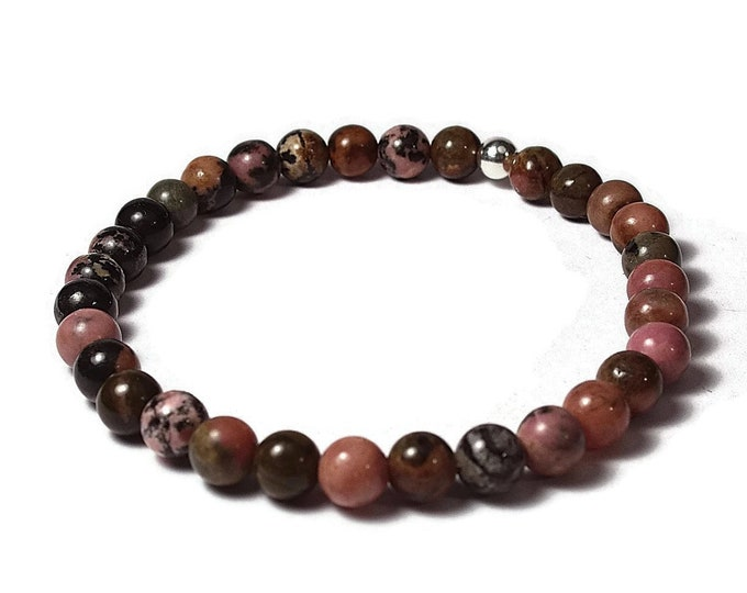Rhodonite and Sterling Silver 6mm Beaded Bracelet, Pink Green Rhodonite Beaded Bracelet