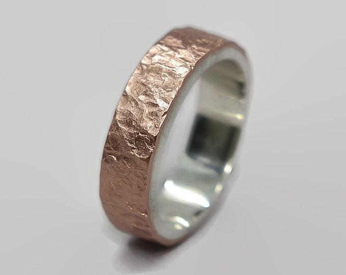 Mens Meteorite Matte Copper Wedding Band Ring, Mens Rustic Matte Copper and Silver Wedding Band Ring Gift for Him Gift for Friends