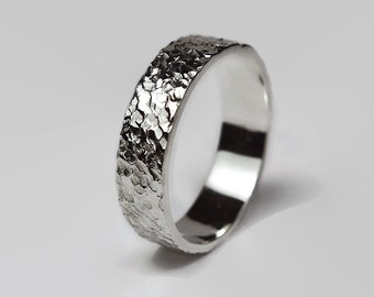 Mens Rustic Sterling Silver Wedding Band Ring Silver Meteorite Wedding Ring for Men Textured Moon Silver Ring 6mm Finish Polished