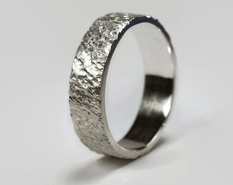 Mens Rustic Matte Sterling Silver Wedding Band Ring. Textured Meteorite Style. Flat Shape 6mm