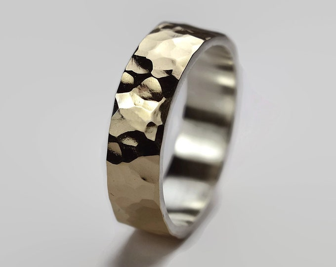 Mens Hammered Gold Wedding Band Ring, Hammered Gold Wedding Band for Men, Hammered Gold Wedding Band Ring, Gold Wedding Band Ring