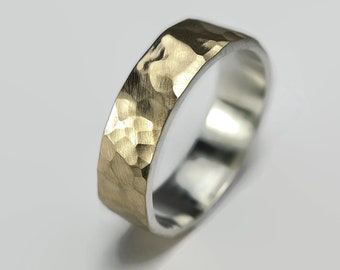 Hammered 9k Gold Wedding Band Ring.