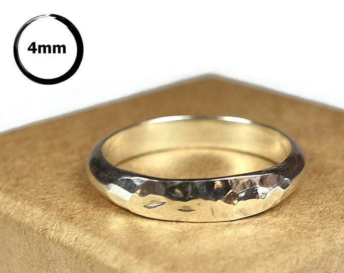4MM Simple Dome Silver Wedding Band for Her. Classic Hammered Dome Sterling Silver Wedding Ring for Her. Dome Silver Wedding Ring Polished