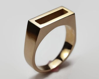 Mens Polished Brass Solitaire Ring. Modern Geometric Style. Wide 8mm