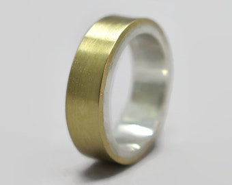 Mens Modern Brass Wedding Band Ring Personalized Brass Ring Custom Wedding Band Ring Matte Brass Wedding Band Gift for Him