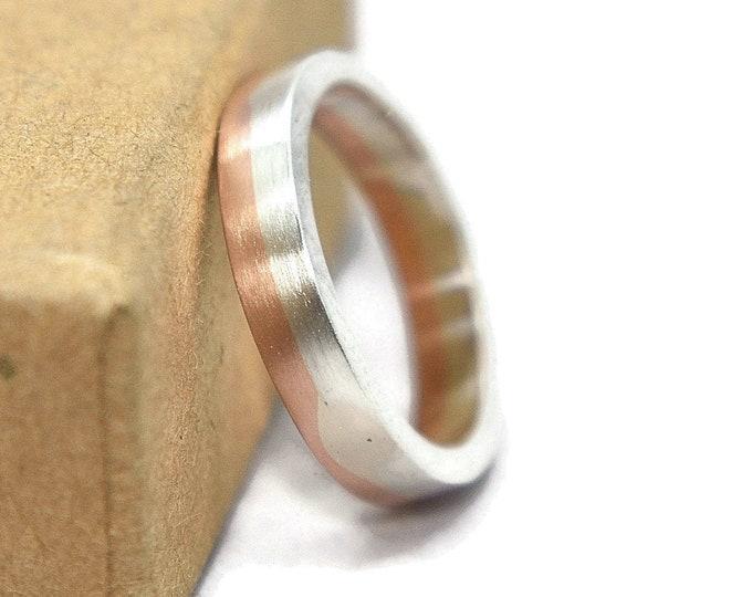 Mens Silver and Copper Midi Band Ring. Matte Silver and Copper Wedding Band Ring. Classic Silver and Copper Wedding Ring 4mm