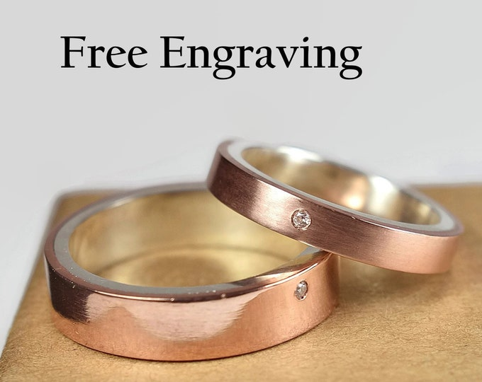 Copper Wedding Band Set. Couple Copper Wedding Band Set, Copper Ring Set with Inside free engraving