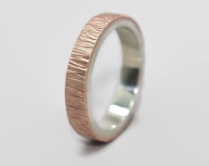 Mens Tree Bark Copper and Sterling Silver Wedding Band Ring Copper Wedding Ring Wood Grain Matte Textured Flat Shape 4mm