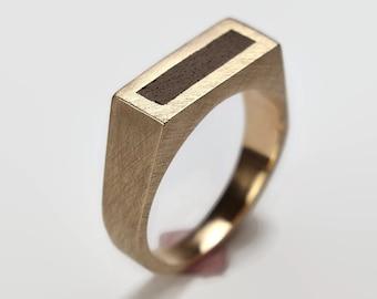 Mens Black Ring Brass and Ebony. Matte Finish. Urban Minimalist Style. Signet Ring 8mm