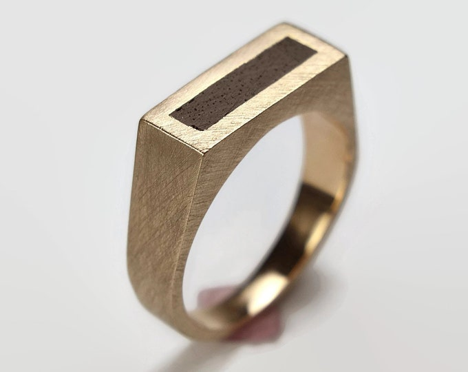 Mens Black Ring Brass and Ebony. Matte Finish. Urban Minimalist Style. Signet Ring 8mm, Valentines Day Unique Gift