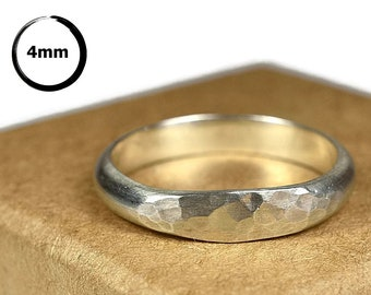 4MM Classic Hammered Dome Sterling Silver Wedding Ring for Her. Simple Dome Silver Wedding Band for Her. Dome Silver Wedding Ring Matte