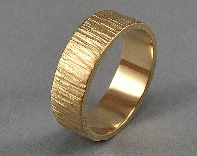 Golden Bronze Tree Bark Wedding Ring, Golden Bronze Tree Bark Wedding Band, Rustic Tree Bark Ring, Nature Ring, Matte Ring 6mm