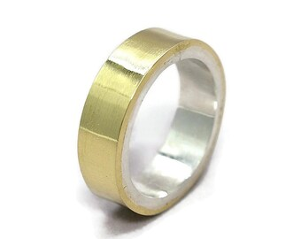Mens Brass Wedding Band Ring Personalized Brass Ring Custom Wedding Band Ring Polished Brass Wedding Band Mens Modern Wedding Band Ring