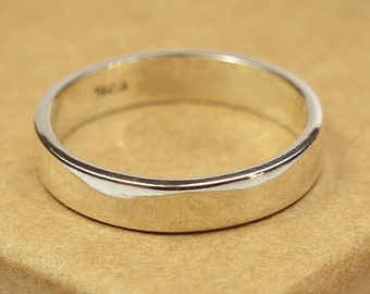 Simple Sterling Silver Wedding Band. Modern Style. Flat Shape 4mm