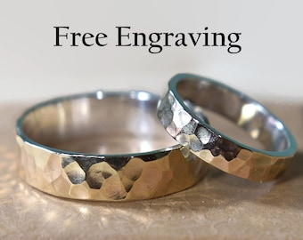 9K Gold and Sterling Silver Hammered Wedding Band Set. Inside Ring Engraving Custom Engraving Flat Shape 4mm and 6mm