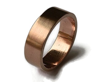 Mens Red Bronze Wedding Band Ring, Simple Bronze Wedding Band, Custom Engraving Bronze Ring, Matte Ring 6mm