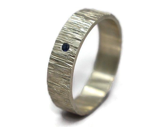 Mens Rustic Blue Sapphire Silver Wedding Band Ring Tree Bark Blue Sapphire Wedding Band Ring Nature Matte Silver Wedding Band Ring Sapphire
