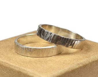 Womens Sterling Silver Wedding Band Ring Set. Rustic Style. Tree Bark Texture, Flat Shape 6mm
