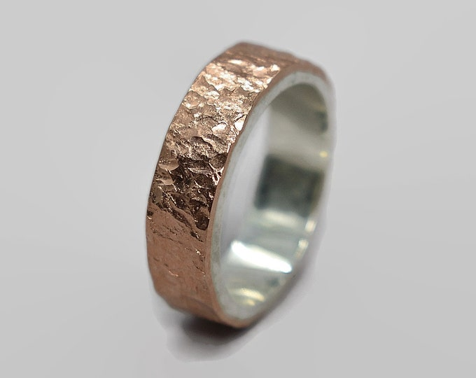 Mens Wedding Band Meteorite in Copper and Sterling Silver Mens Rustic Copper Wedding Band Meteorite Wedding Ring Meteorite in Copper
