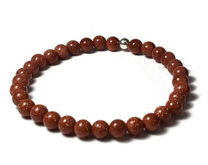 Golden Aventurine and Sterling Silver 6mm Beaded Bracelet, Red Golden Aventurine Beaded Bracelet