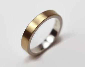 Womens 9k Gold and Sterlling Silver Wedding Band Ring. Matte Finish. Urban Modern Style. Flat Shape 4mm