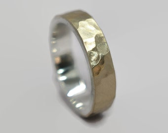 Mens Hammered Matte 9k Gold and Silver Wedding Band Ring Rustic Hammered 9k Gold Wedding Band Ring for Men Modern Gold Ring Gift for Him